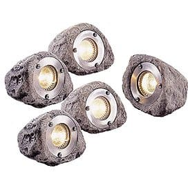 Master Craft Low-Voltage Outdoor Rock Light, Set of 5