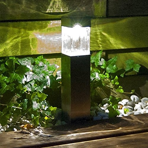 Solar Lights Outdoor,Super Bright 10 Lumen Satinless Steel Solar Light Bollard