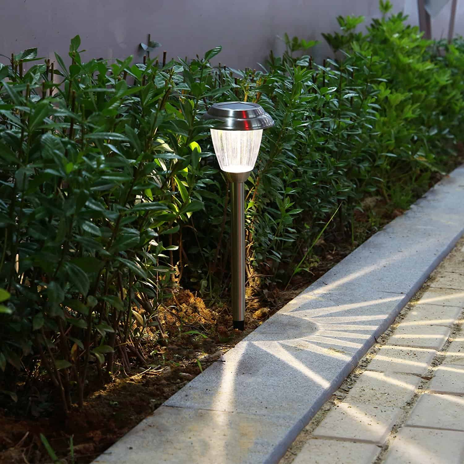Voona 8-Pack Solar Lights Stainless Steel LED Pathway Landscape lights