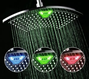 DreamSpa® AquaFan 12 inch All-Chrome Rainfall-LED-Shower-Head with Color-Changing LED/LCD Temperature Display