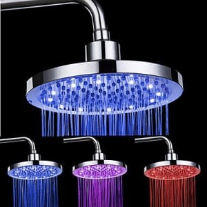 FAGL light 8-inch 12-LED Round Ceiling Shower Head (Assorted Colors)