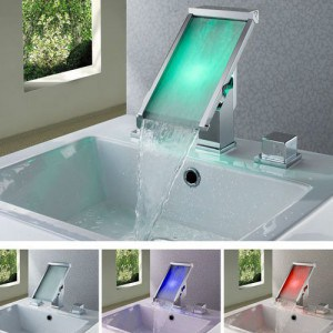 Fontana Color Changing LED Waterfall Widespread Bathroom Sink Faucet