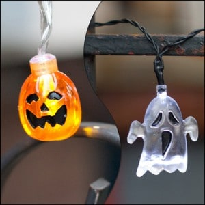 ghost and pumpkin string lights