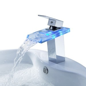 Ouku® Deck Mount Temperature Sensitive Single Handle Centerset Led Lavatory Bathroom Sink Faucet