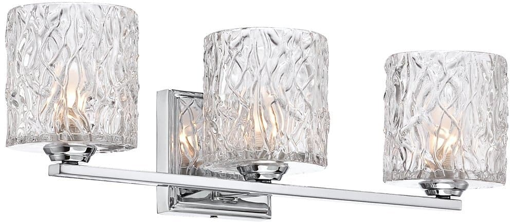 Lorenzo Chrome 19.75 inch Wide 3-Light Molten Glass Bath Light