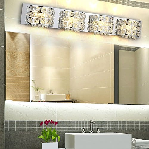 Modern Stainless Steel LED Clear Crystals Bath Vanity Light Wall Lamp Fixture in Chrome