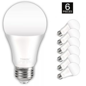 TIWIN A19 E26 LED Light Bulbs 100 watt equivalent (11W), Daylight (5000K),1100lm, CRI80+, General Purpose Light Bulbs, UL Listed, Pack of 6