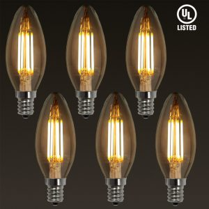 E12 LED Filament Vintage Light Bulb, Candelabra Base,4W