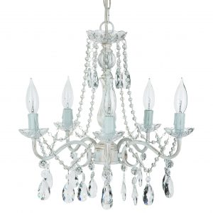 Elizabeth Swoop Arm Crystal Plug-In Chandelier 5 Lights Whitewashed
