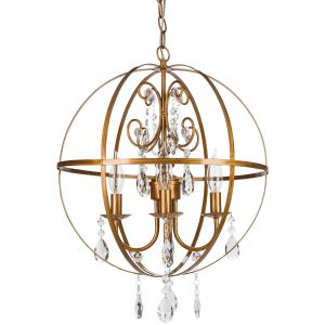 Luna Contemporary Crystal Orb Chandelier | 4 Lights | Gold