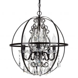 Luna Crystal Beaded Orb Chandelier 5 Lights Black