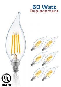 Luxrite LR21203 (6-Pack) 6W LED Filament Candelabra Bulb