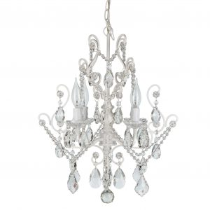 Theresa Vintage Crystal Plug-In Chandelier 4 Lights White