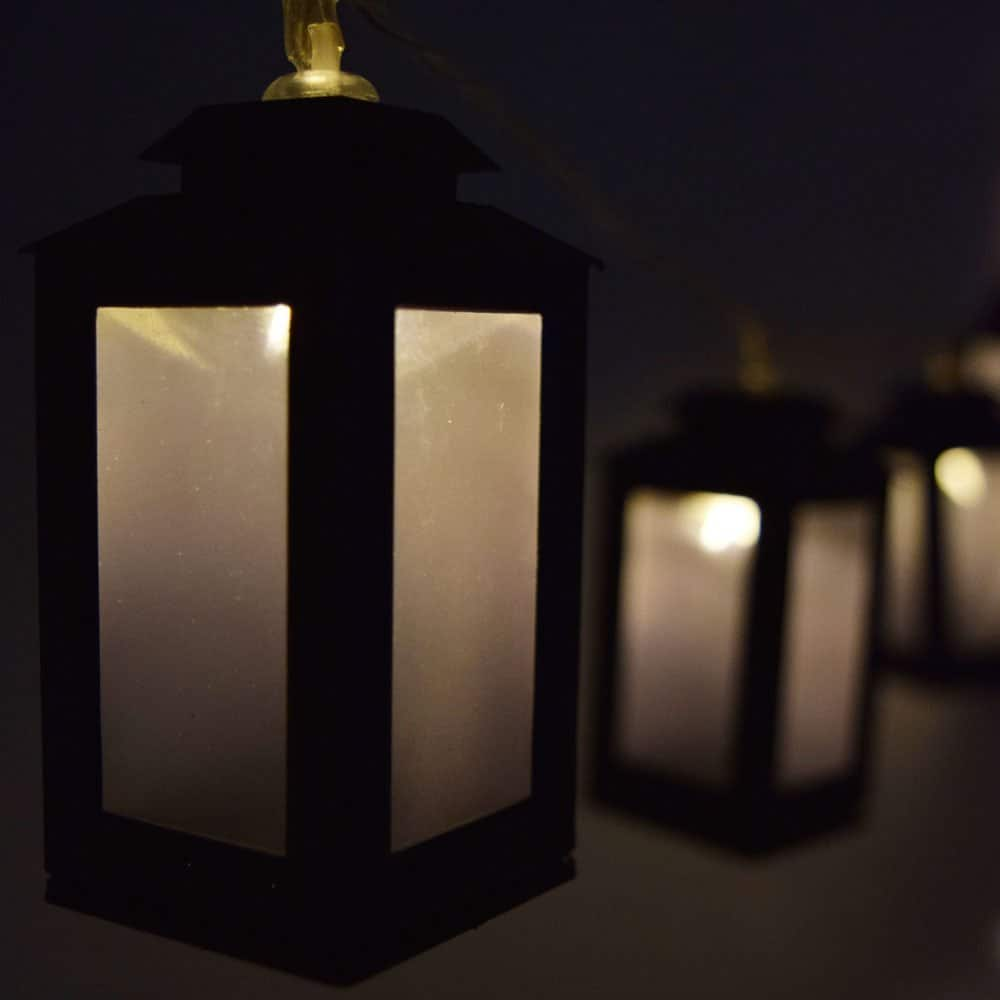 LED black lantern string lights