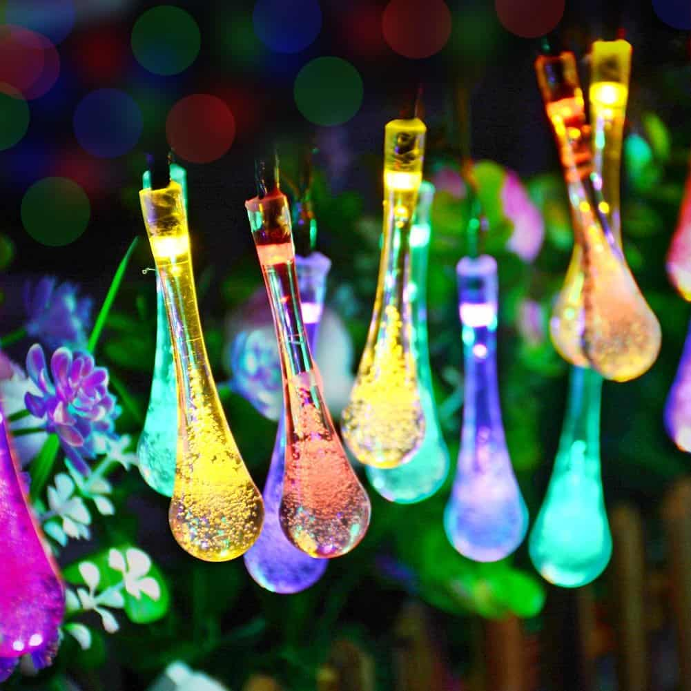 LED icicle water drop fairy string lights