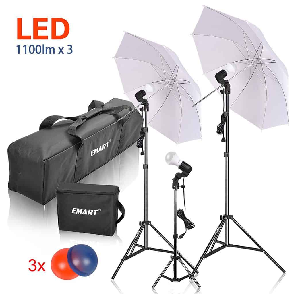 Emart Studio LED Photography Umbrella Lighting Kit