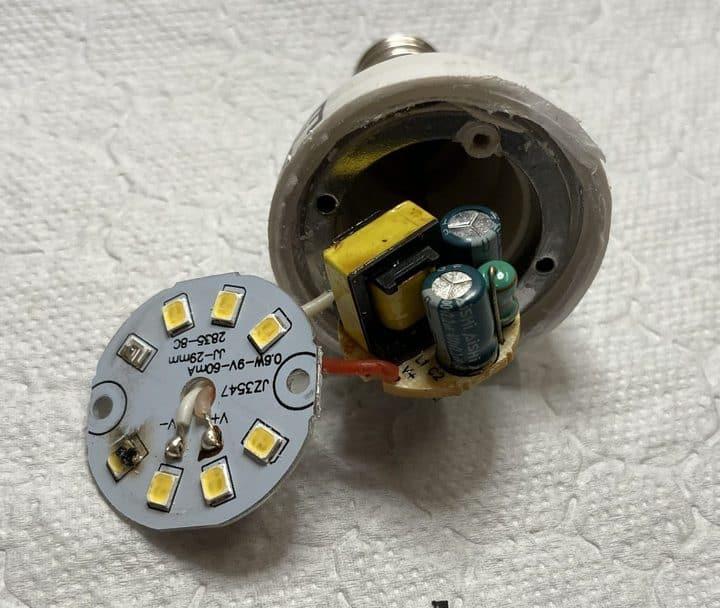 internal components of LED light bulb