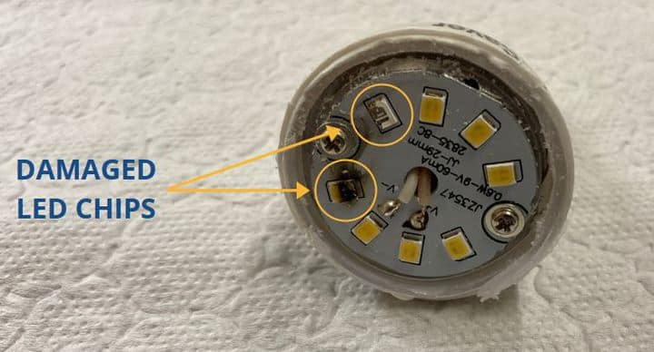 opened LED bulb with faulty diodes