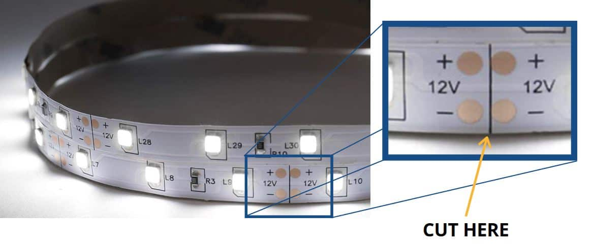 where to cut LED strip