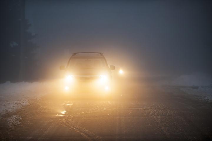 headlights in snow