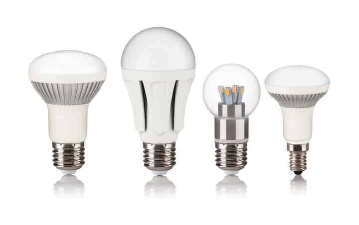 various LED light bulbs and covers