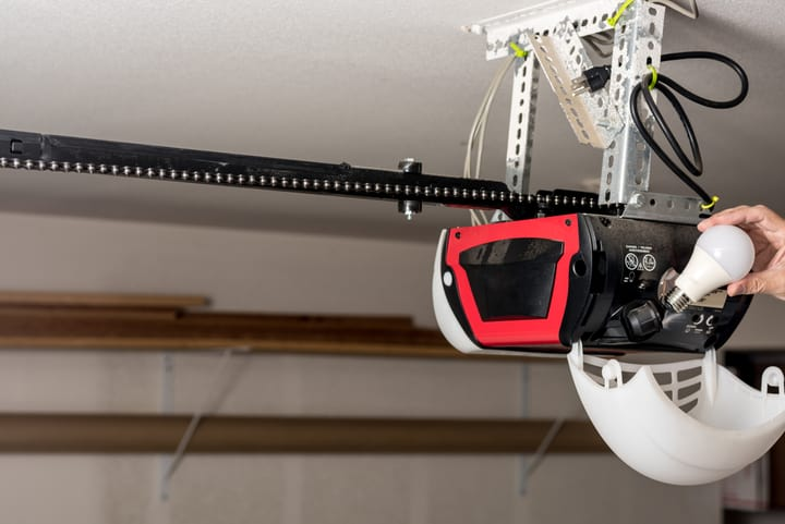 placing led bulb in a garage opener door