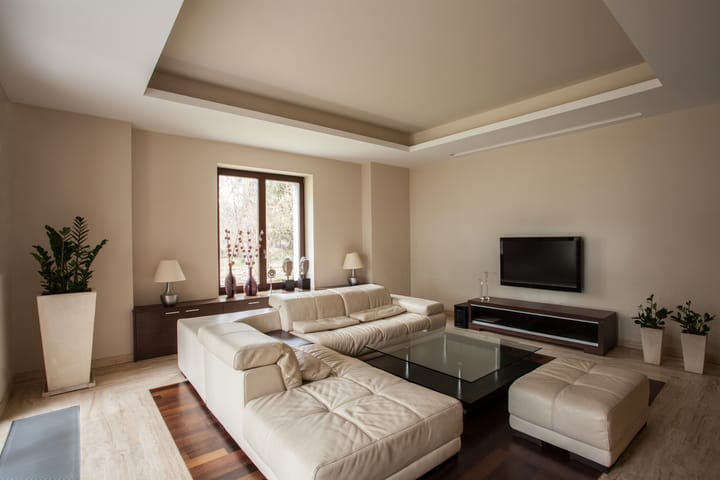living room with table lamps