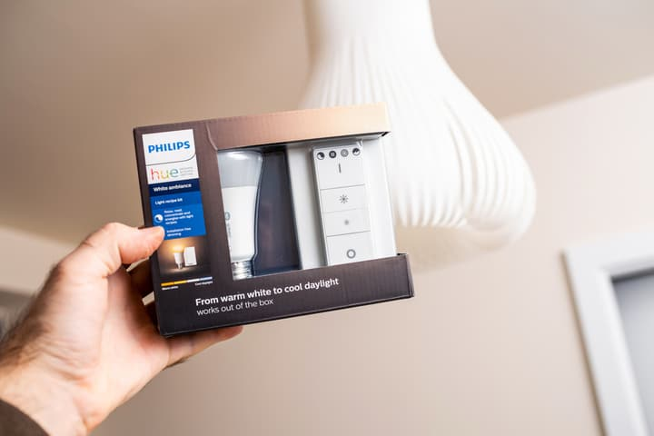 Holding philips hue bulb in front of fixture