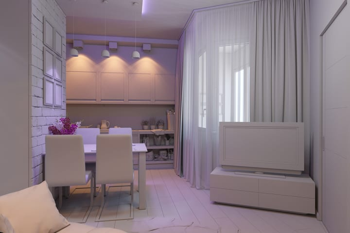 Room with different light accents