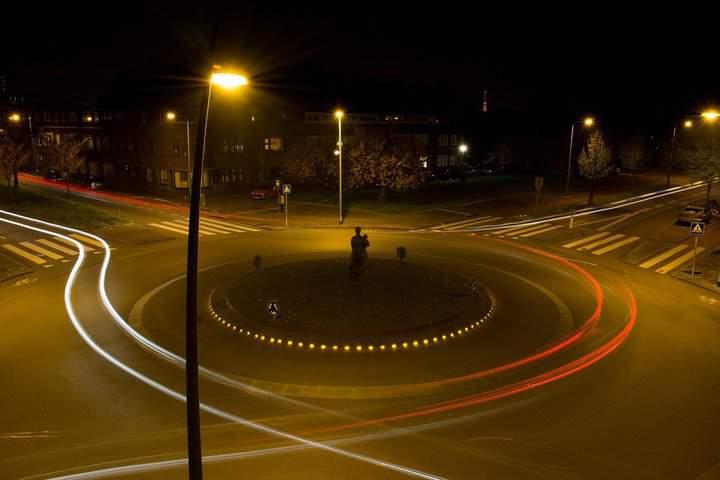 Orange light on the road